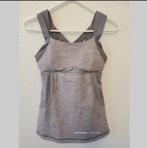Lululemon Pristine Gray Padded Athletic Tank Top